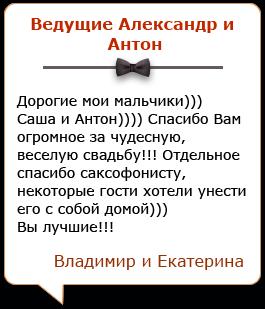 Отзывы о дуэте ведущих на свадьбу Александре и Антоне